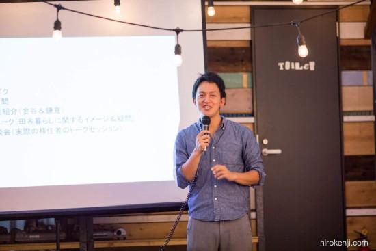移住イベントでスピーチを行う滝田氏