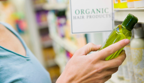 Woman shopping for organic hair products